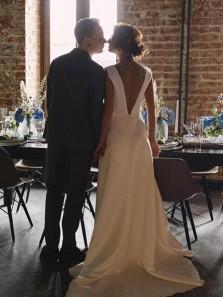 Elegant A Line V Neck Open Back Satin Long Wedding Dresses with Pockets