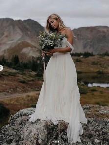 Flow Off the Shoulder Chiffon Ivory Wedding Dresses, Fairy Wedding Dresses