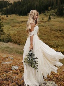 Flow Off the Shoulder Chiffon Ivory Wedding Dresses, Fairy Wedding Dresses