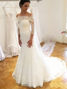 Elegant Mermaid Off the Shoulder 3/4 Sleeves Lace Wedding Dresses, Chic Wedding Gowns For Bride