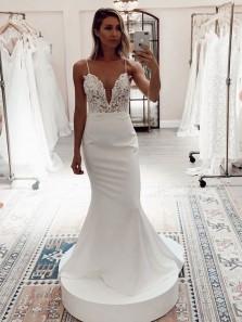 Charming Mermaid V Neck Spaghetti Straps White Satin Long Wedding Dresses