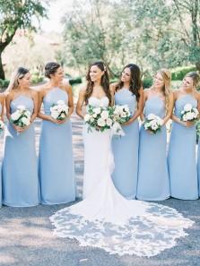 Elegant Sheath Halter Light Blue Satin Long Bridesmaid Dresses, Spaghetti Straps Bridesmaid Gowns