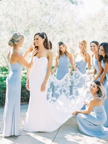 Elegant Sheath Halter Light Blue Satin Long Bridesmaid Dresses, Spaghetti Straps Bridesmaid Gowns