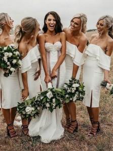 Elegant Off the Shoulder Split White Knee Length Bridesmaid Dresses Under 100
