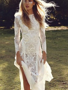 Bohemian Sheath Long Sleeves Open Back Lace Wedding Dresses