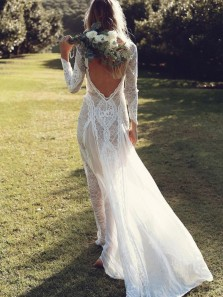 Bohemian Sheath Long Sleeves Open Back Lace Wedding Dresses