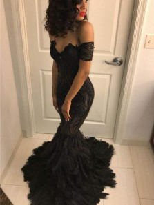 Charming Mermaid Off the Shoulder Lace Beading Black Prom Dresses, Evening Party Dresses