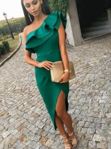 Elegant Sheath One Shoulder Side Split Dark Green Evening Party Dresses, Cocktail Dresses