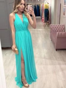Charming V Neck Cross Back Jade Chiffon Evening Dresses, Split Prom Dresses