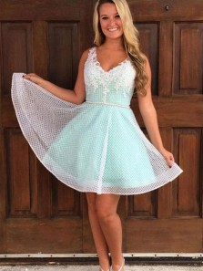 Cute A Line V Neck Mint Tulle Homecoming Dresses with Appliques, Short Prom Dresses