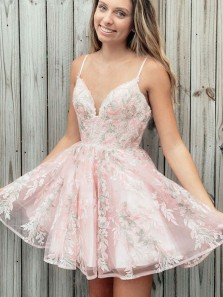 Sweet A Line V Neck Spaghetti Straps Pink Lace Hoco Dresses, Junior Homecoming Dresses