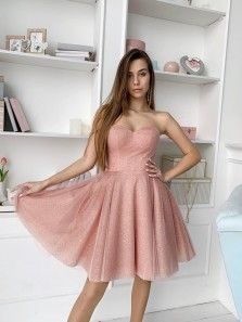 Glitter A Line Sweetheart Blush Pink Tulle Hoco Dresses, Fashion Short Homecoming Dress