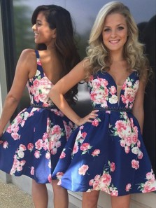 Cute V Neck Floral Printed Hoco Dresses with Beading, Short Prom Dresses Under 100
