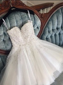 Sweet A Line Beading Pearls Hoco Dresses, Gorgeous Junior Homecoming Dresses
