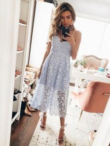 Elegant A Line V Neck Spaghetti Straps Light Blue Lace Party Dresses, Hoco Dresses