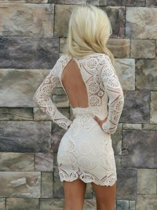 Elegant V Neck Long Sleeves White Lace Hoco Dresses, Tight Short Homecoming Dresses