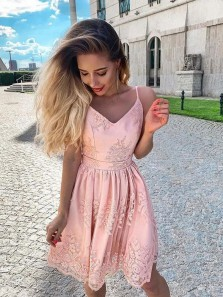 Cute A Line V Neck Spaghetti Straps Blush Pink Lace Hoco Dresses with Back Bow