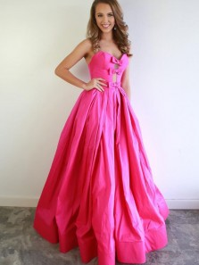 Gorgeous Ball Gown Sweetheart Fuchsia Satin Prom Dresses with Bow, Sweet Prom Gowns