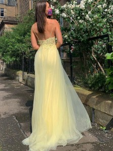 Charming A Line V Neck Daffodil Side Split Long Prom Dresses with Appliques