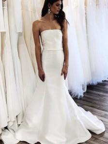 Vintage Mermaid Strapless White Satin Wedding Dresses