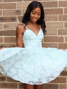 Cute A Line V Neck Spaghetti Straps White Lace Hoco Dresses, Short Homecoming Dresses