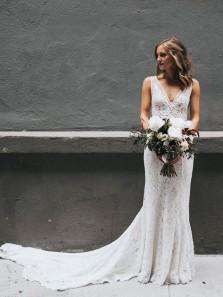 Gorgeous Mermaid V Neck Open Back Lace Wedding Dresses