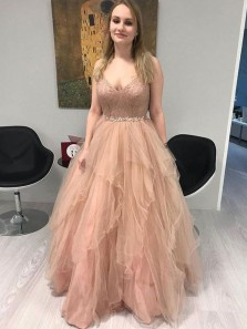 Gorgeous V Neck Ball Gown Champagne Tulle Lace Prom Dresses with Beading