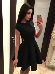 Cute A Line Round Neck Open Back Black Homecoming Dresses with Bow, Hoco Dresses, Little Black Dresses