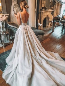 Gorgeous Ball Gown V Neck Open Back Sequins Lace Wedding Dresses with Train