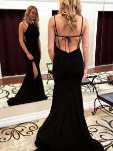 Charming Mermaid Round Neck Black Elastic Satin Long Evening Dresses, Prom Party Dresses