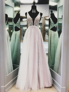 Charming V Neck Light Pink Tulle Lace Long Prom Dresses, Fashion Party Dresses