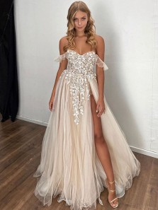 Charming A Line Sweetheart Split Lace Light Champagne Wedding Dresses