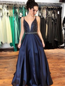 Gorgeous Ball Gown V Neck Beading Navy Satin Long Prom Dresses