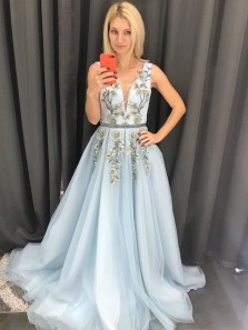 Gorgeous A Line V Neck Light Blue Tulle Long Prom Dresses with Appliques & Beading