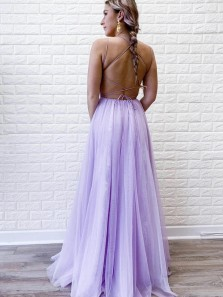 Charming A Line Scoop Neck Spaghetti Straps Lilac Tulle Split Prom Dresses with Lace, Evening Dresses