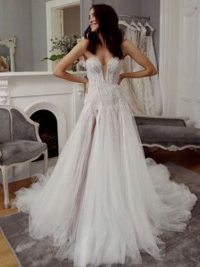Charming Flow Sweetheart Beading Split Wedding Dresses, Sparkly Wedding Gowns