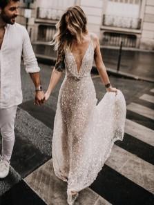 Gorgeous Glitter A Line Deep V Neck Sequins Wedding Dresses