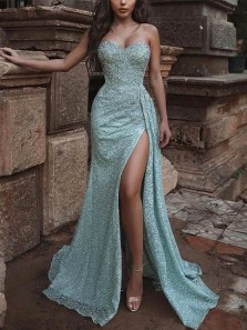 Charming Sparkly Mermaid Sweetheart Split Sequins Prom Dresses