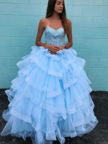 Ball Gown Sweetheart Light Blue Tulle Multi-layered Long Prom Dresses with Beading