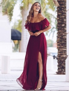 Charming A Line Off the Shoulder Dark Red Chiffon Split Long Bridesmaid Dresses Under 100
