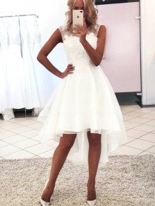Charming A Line Round Neck White Lace Short High Low Wedding Dresses