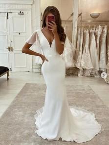 Simple Charming Mermaid V Neck Sleeves White Satin Wedding Dresses