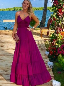 Elegant V Neck Spaghetti Straps Fuchsia Chiffon Evening Party Dresses, Holiday Dresses Under 100