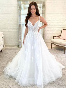 Fashion Sweet V Neck Spaghetti Straps Tulle Wedding Dresses with Appliques, Fairy Wedding Gowns