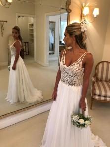 Charming A Line V Neck Open Back Chiffon Wedding Dresses with Appliques, Flow Beach Wedding Dresses