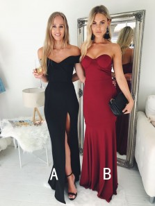 Simple Elegent Mermaid Off the Shoulder Black Satin Prom Dresses with Split