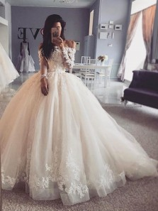 Gorgeous Ball Gown Off the Shoulder Long Sleeves Ivory Tulle Wedding Dresses with Appliques