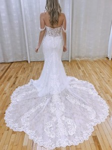 Charming Elegant Mermaid Off the Shoulder Lace Wedding Dresses with Appliques
