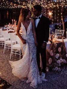 Sparkly Gorgeous A Line Deep V Neck Open Back Sequins Wedding Dresses, Charming Wedding Dress for Bride