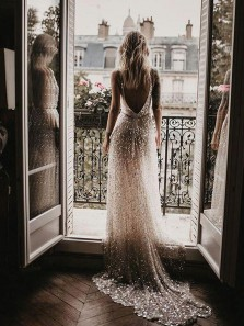 Sparkly Gorgeous A Line Deep V Neck Open Back Sequins Wedding Dresses, Charming Wedding Dress for Bride